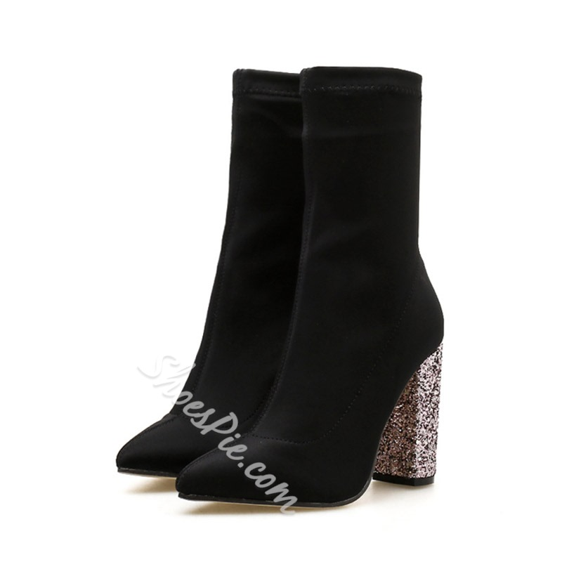 Shoespie Sexy Pointed Toe Slip-On Plain Ankle Boots