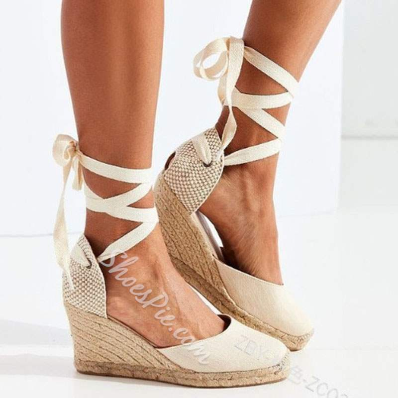 Shoespie Trendy Lace-Up Round Toe Wedge Sandals