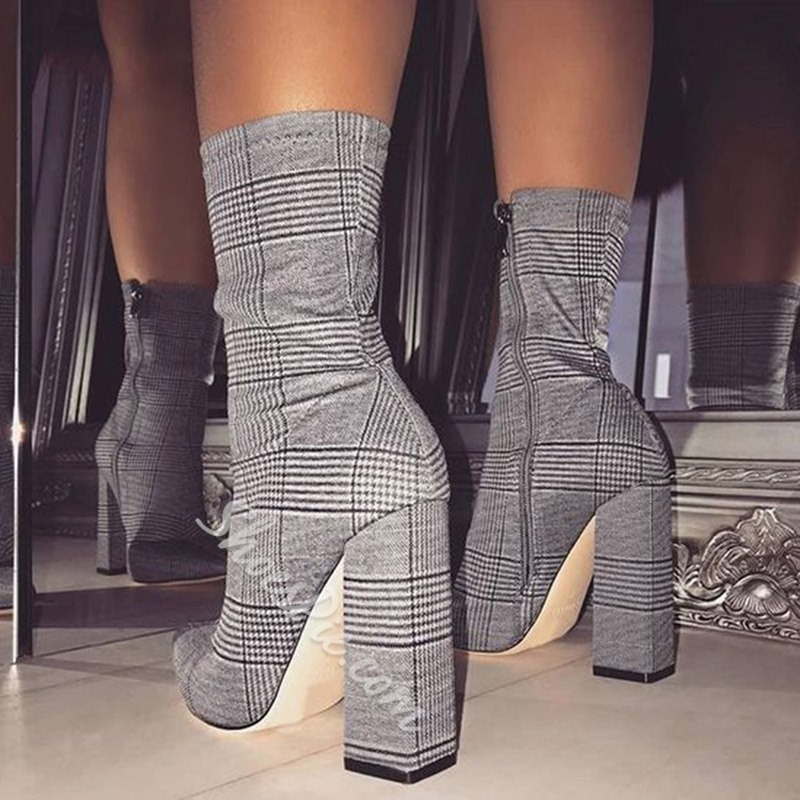 shoespie Stylish Chunky Heel Pointed Toe Side Zipper Casual Boots