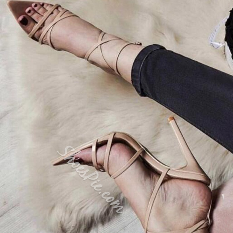 Shoespie Trendy Stiletto Heel Open Toe Cross Strap Sandals