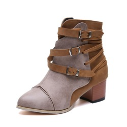 Shoespie Trendy Color Block Side Zipper Round Toe Ankle Boots