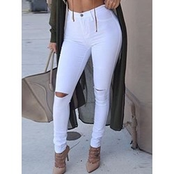 Plain Pencil Pants Hole Slim Women's Jeans