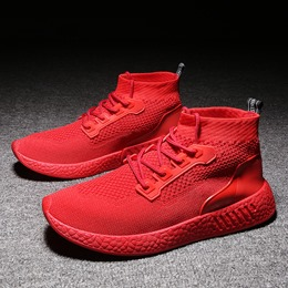 Shoespie Mid-Cut Lace Up Round Toe Men's Sneakers