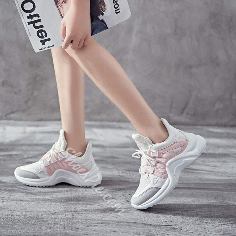 Shoespie Sexy Thread Low-Cut Lace-Up Color Block Sneakers