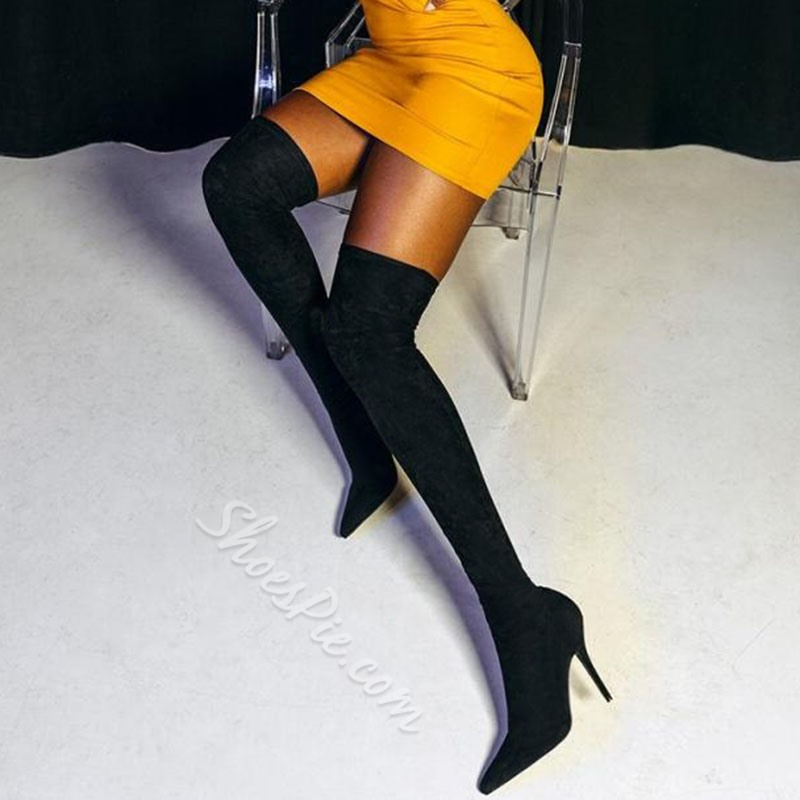 a6e59a0663a Shoespie Sexy Plain Stiletto Heel Slip-On Thigh High Boots- Shoespie.com