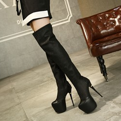 Shoespie Trendy Stiletto Heel Side Zipper Round Toe Thigh HIgh Boots