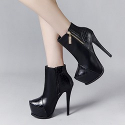 Shoespie Trendy Plain Stiletto Heel Round Toe Ankle Boots