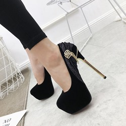 Shoespie Sexy Rhinestone Slip-On Round Toe Stiletto Heels