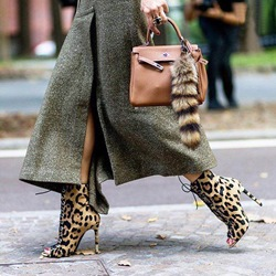 Shoespie Trendy Peep Toe Stiletto Heel Leopard PU Ankle Boots