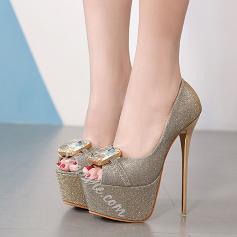 Shoespie Trendy Peep Toe Slip-On Platform Stiletto Heels