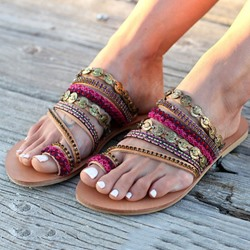 Shoespie Trendy Slip-On Toe Ring Flat Casual Slippers