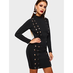 Hollow Long Sleeve Pullover Women's Bodycon Dress