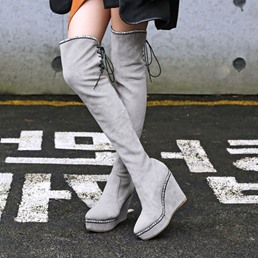 Shoespie Trendy Round Toe Wedge Heel Lace-Up Back Thigh High Boots