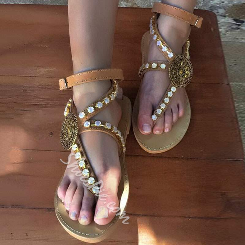 Shoespie Trendy Thong Strappy Buckle Low-Cut Upper Flat Sandals