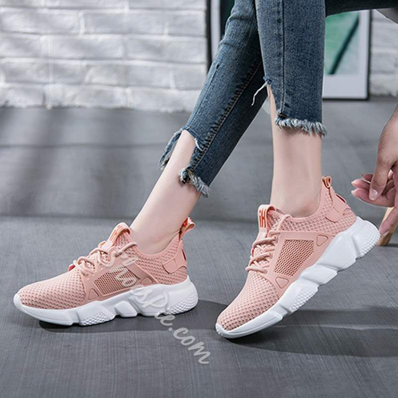 Shoespie Trendy Lace-Up Low-Cut Upper Round Toe Mesh Sneakers
