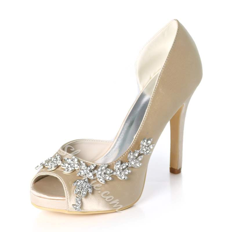 Shoespie Trendy Rhinestone Stiletto Heel Slip-On Wedding Bridal Shoes