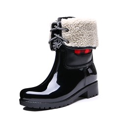 Shoespie Block Heel Round Toe Short Floss Ankle Boots