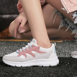 Shoespie Round Toe Low-Cut Upper Lace-Up Patchwork Sneakers