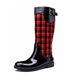 Shoespie Block Heel Plaid Side Zipper Buckle Knee High Boots