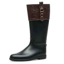 Shoespie Slip-On Round Toe Block Heel Knee High Boots