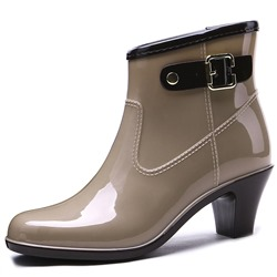 Shoespie Stylish Round Toe Slip-On Buckle Hunter Ankle Boots