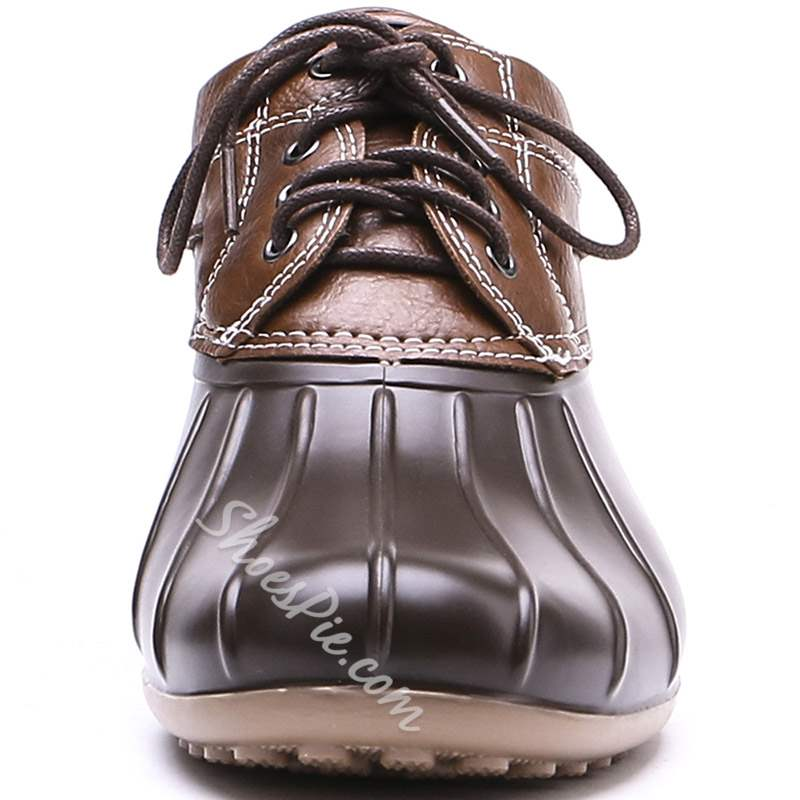 Shoespie Trendy Lace-Up Round Toe Hunter Ankle Boots