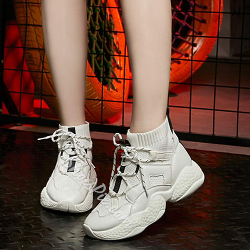 Shoespie Sexy High-Cut Upper Lace-Up Round Toe Sneakers