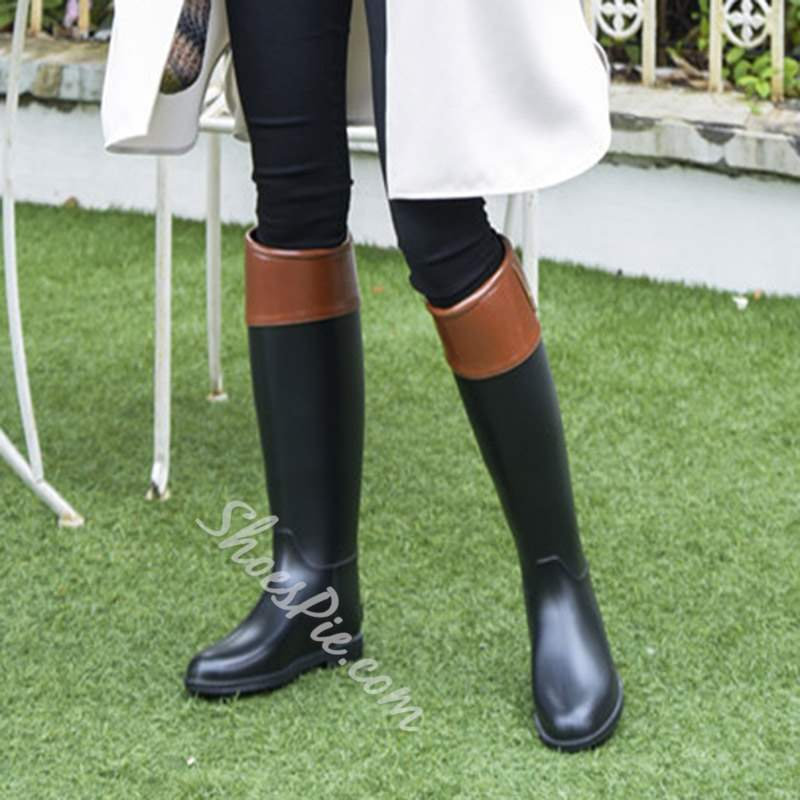 Shoespie Color Block Block Heel Round Toe Knee High Boots