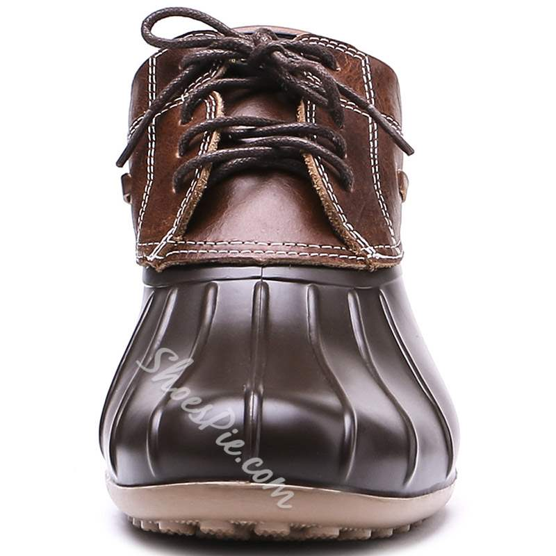 Shoespie Stylish Lace-Up Front Patchwork Hunter Ankle Boots