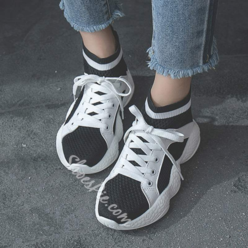 Shoespie Sexy High-Cut Upper Round Toe Lace-Up Sneakers