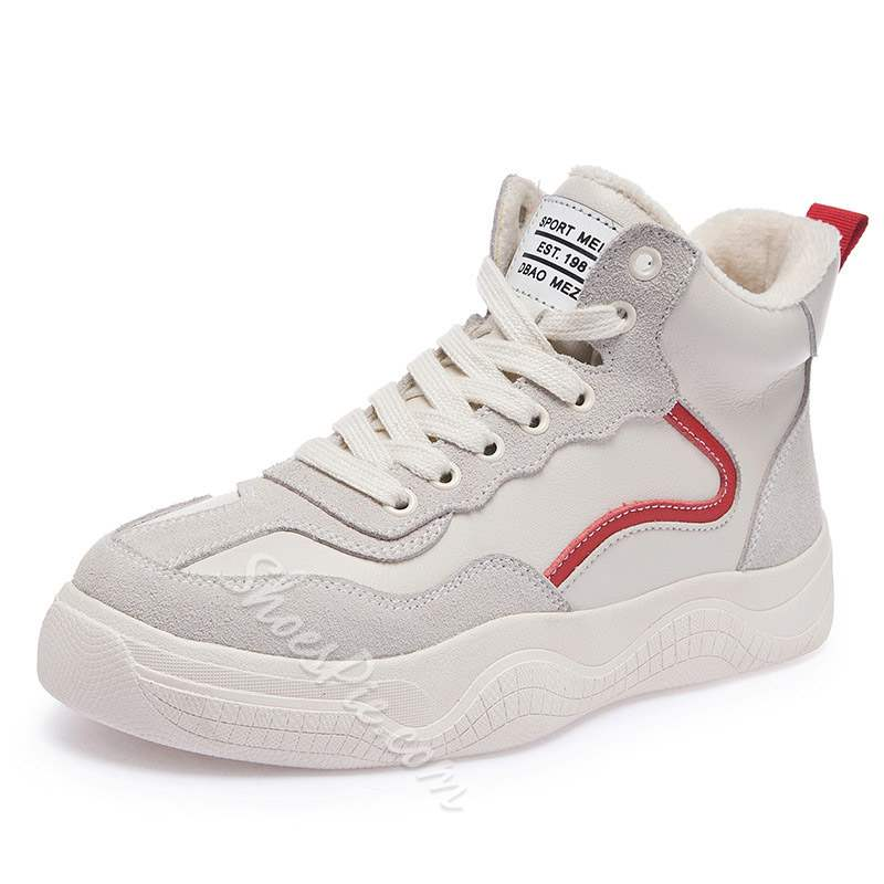 Shoespie Trendy Lace-Up High-Cut Platform Sneakers