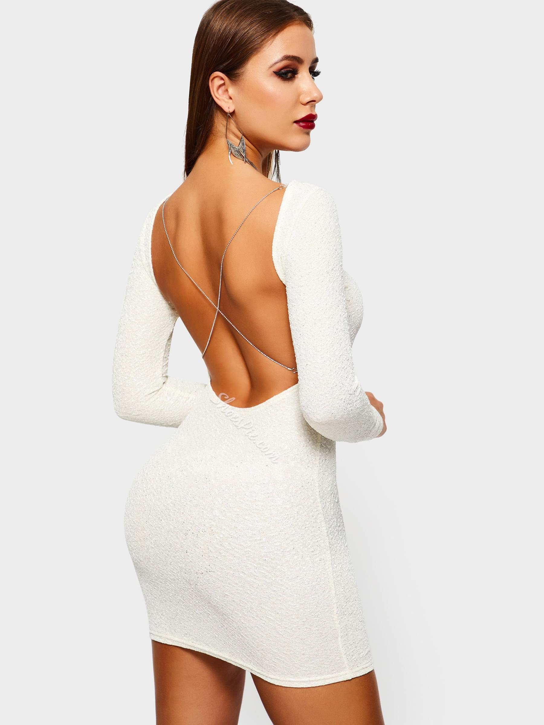 Long Sleeve Sequins Backless Women's Bodycon Dress
