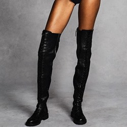 Shoespie Trendy Side Zipper Block Heel Plain PU Thigh High Boots
