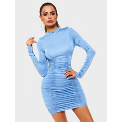 Pleated Long Sleeve Polyester Women's Bodycon Dress