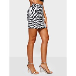 Zebra-Stripe Bodycon High-Waist Women's Mini Skirt
