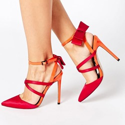 Shoespie Line-Style Buckle Strappy Pointed Toe Color Block Dress Sandals