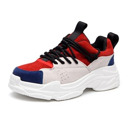 Shoespie Sexy Lace-Up Round Toe Color Block Sneakers
