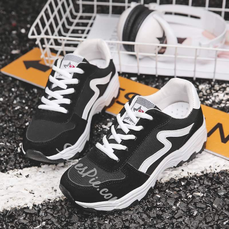 Shoespie Casual Low-Cut Upper Round Toe Lace-Up Sneakers