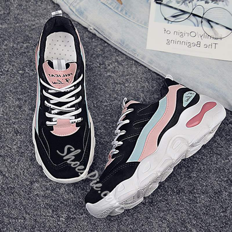 Shoespie Stylish Platform Round Toe Lace-Up Sneakers