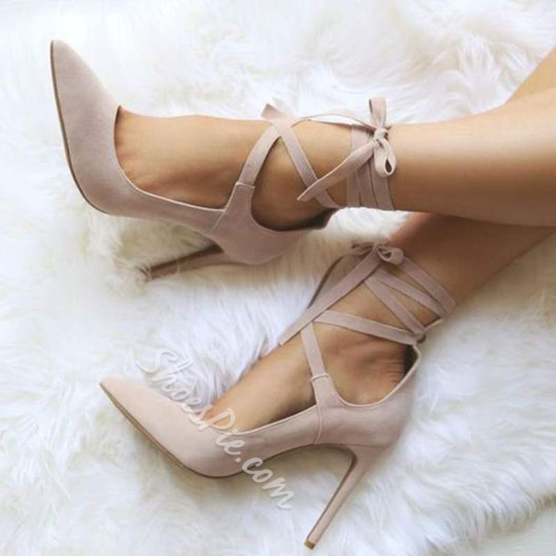 Shoespie Stylish Pointed Toe Stiletto Heel Lace-Up Stiletto Heels