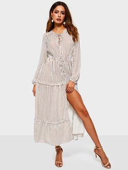 Polyester Long Sleeve Stripe Women's Maxi Dress