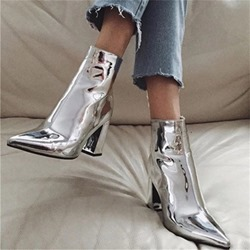 Shoespie Stylish Side Zipper Pointed Toe Chunky Heel Ankle Boots