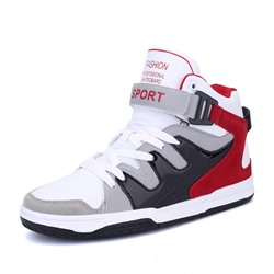 Shoespie Color Block High-Cut Upper Lace-Up Round Toe Men's Skate Shoes