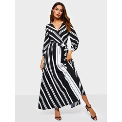 Polyester Print V-Neck Travel Look Women's Maxi Dress