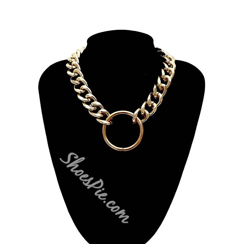 Horsewhip Circle Shape Golden Punk Chain Necklace
