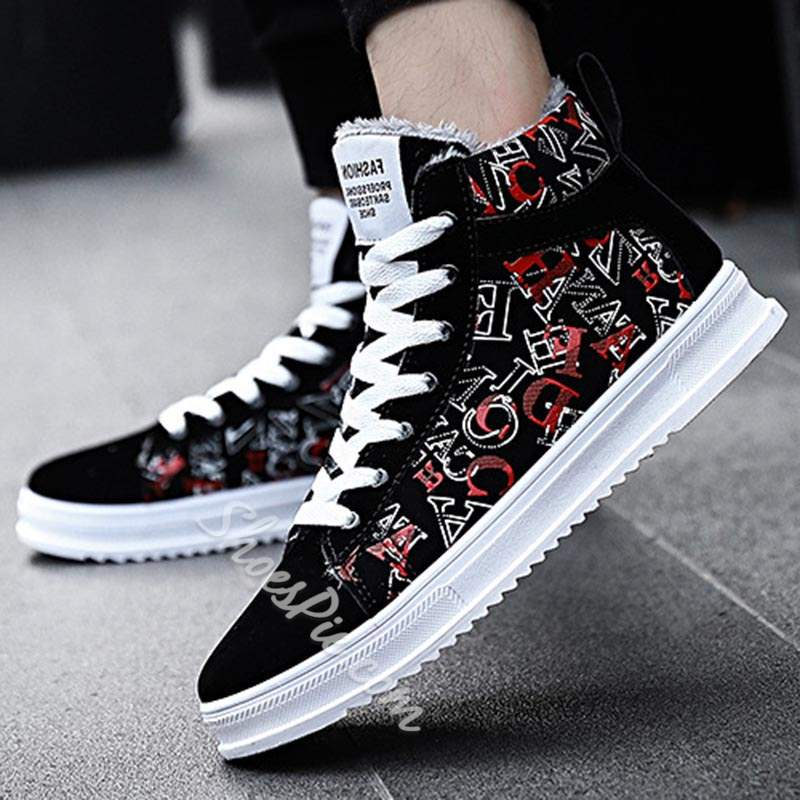 Shoespie Letter Lace-Up High-Cut Round Toe Men's Skate Shoes