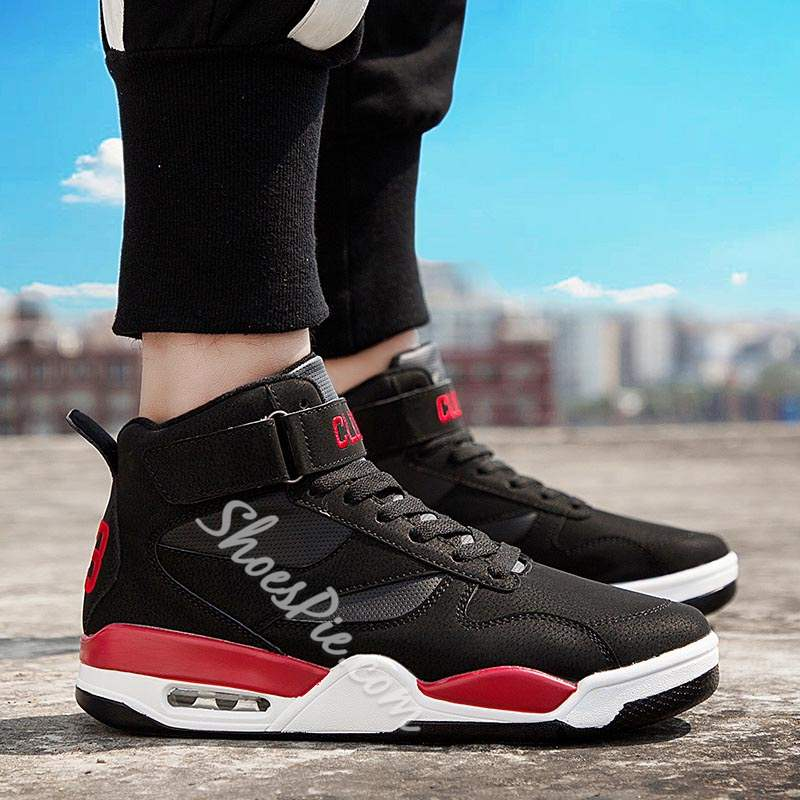 Shoespie High Cut Upper Lace-Up Round Toe Men's Sneakers
