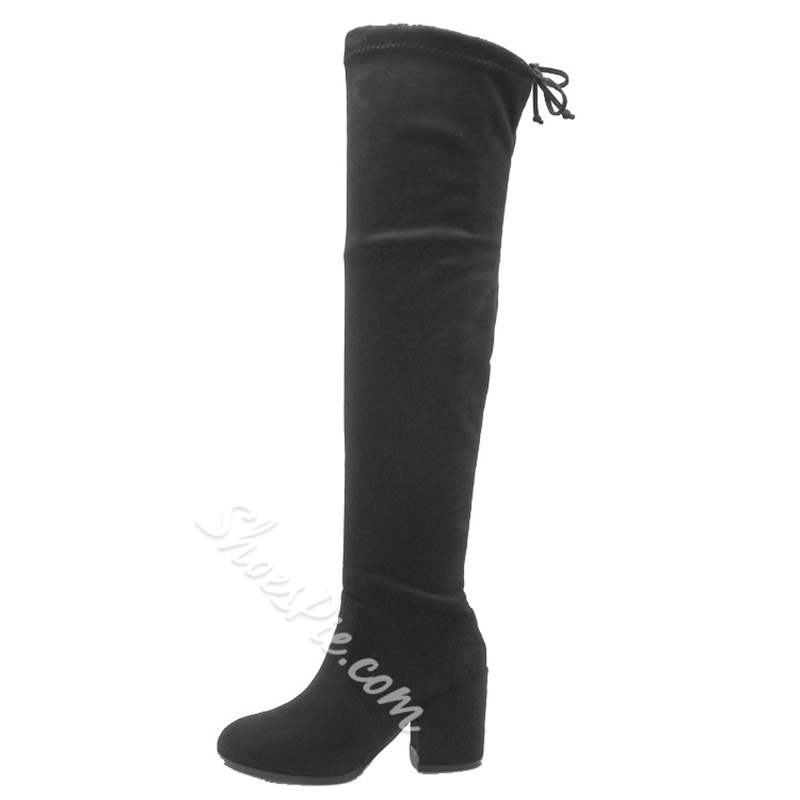 Shoespie Stylish Round Toe Lace-Up Back Short Floss Thigh High Boots