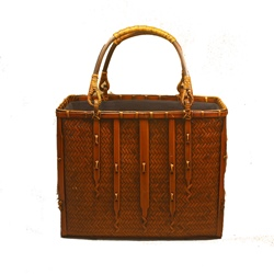 Shoespie Knitted Plain Square Bamboo Tote Bags