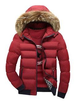 Standard Color Block Patchwork European Zipper Down Jacket